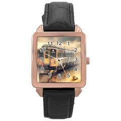 Manipulation Ghost Train Painting Rose Gold Leather Watch  by AnjaniArt