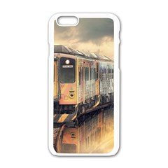Manipulation Ghost Train Painting Apple Iphone 6/6s White Enamel Case by AnjaniArt