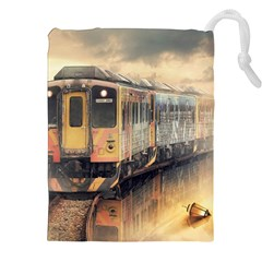 Manipulation Ghost Train Painting Drawstring Pouch (xxl) by AnjaniArt