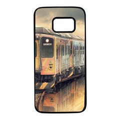 Manipulation Ghost Train Painting Samsung Galaxy S7 Black Seamless Case by AnjaniArt
