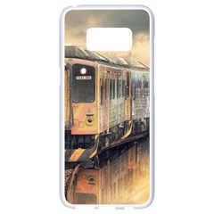 Manipulation Ghost Train Painting Samsung Galaxy S8 White Seamless Case by AnjaniArt