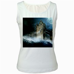 Manipulated Lodon Bridge Water Waves Women s White Tank Top