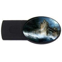 Manipulated Lodon Bridge Water Waves Usb Flash Drive Oval (4 Gb) by AnjaniArt