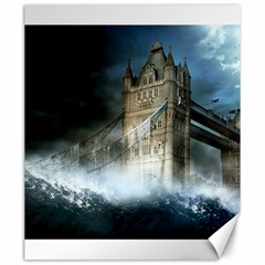 Manipulated Lodon Bridge Water Waves Canvas 20  X 24  by AnjaniArt