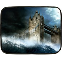 Manipulated Lodon Bridge Water Waves Double Sided Fleece Blanket (mini)  by AnjaniArt