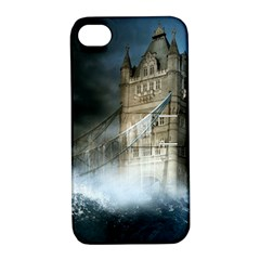 Manipulated Lodon Bridge Water Waves Apple Iphone 4/4s Hardshell Case With Stand by AnjaniArt