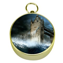 Manipulated Lodon Bridge Water Waves Gold Compasses by AnjaniArt