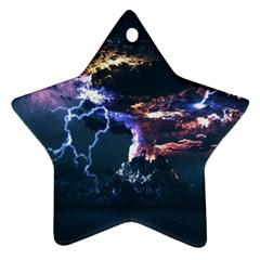 Lightning Volcano Manipulation Volcanic Eruption Ornament (star) by AnjaniArt