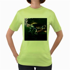 Lightning Volcano Manipulation Volcanic Eruption Women s Green T Shirt