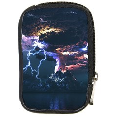 Lightning Volcano Manipulation Volcanic Eruption Compact Camera Leather Case by AnjaniArt