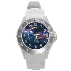 Lightning Volcano Manipulation Volcanic Eruption Round Plastic Sport Watch (l)