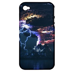 Lightning Volcano Manipulation Volcanic Eruption Apple Iphone 4/4s Hardshell Case (pc+silicone) by AnjaniArt