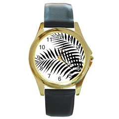 Palm Leaves Round Gold Metal Watch by AnjaniArt