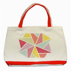 Star Triangle Rainbow Geometric Line Classic Tote Bag (red) by AnjaniArt