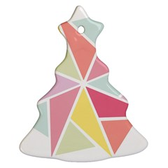 Star Triangle Rainbow Geometric Line Christmas Tree Ornament (two Sides) by AnjaniArt