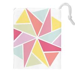 Star Triangle Rainbow Geometric Line Drawstring Pouch (xxl) by AnjaniArt