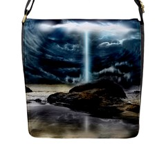 Space Galaxy Hole Flap Closure Messenger Bag (l) by AnjaniArt