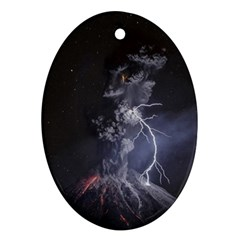 Star Night Volcano Lightning Wallpapers Flash Strom Ornament (oval) by AnjaniArt