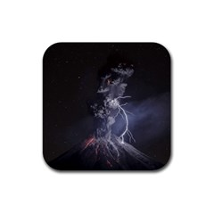 Star Night Volcano Lightning Wallpapers Flash Strom Rubber Square Coaster (4 Pack)  by AnjaniArt