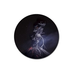 Star Night Volcano Lightning Wallpapers Flash Strom Rubber Coaster (round)  by AnjaniArt