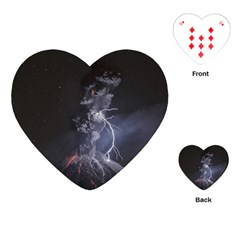 Star Night Volcano Lightning Wallpapers Flash Strom Playing Cards (heart) by AnjaniArt
