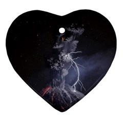 Star Night Volcano Lightning Wallpapers Flash Strom Heart Ornament (two Sides) by AnjaniArt