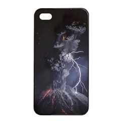 Star Night Volcano Lightning Wallpapers Flash Strom Apple Iphone 4/4s Seamless Case (black)