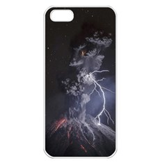 Star Night Volcano Lightning Wallpapers Flash Strom Apple Iphone 5 Seamless Case (white)