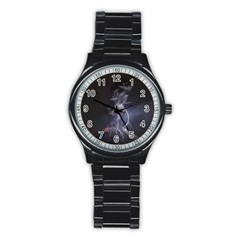 Star Night Volcano Lightning Wallpapers Flash Strom Stainless Steel Round Watch by AnjaniArt