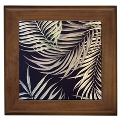 Palm Leaves Painting Grey Framed Tiles by AnjaniArt