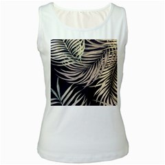 Palm Leaves Painting Grey Women s White Tank Top