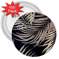 Palm Leaves Painting Grey 3  Buttons (100 Pack)