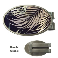 Palm Leaves Painting Grey Money Clips (oval)
