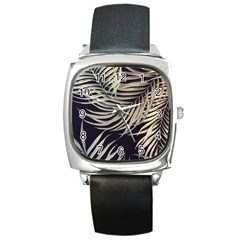 Palm Leaves Painting Grey Square Metal Watch by AnjaniArt