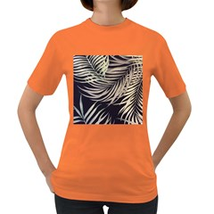 Palm Leaves Painting Grey Women s Dark T Shirt