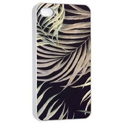 Palm Leaves Painting Grey Apple Iphone 4/4s Seamless Case (white) by AnjaniArt