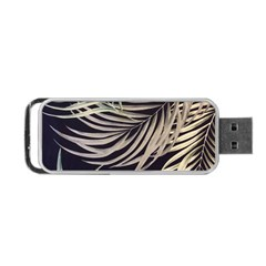 Palm Leaves Painting Grey Portable Usb Flash (one Side)