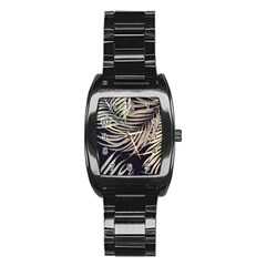 Palm Leaves Painting Grey Stainless Steel Barrel Watch by AnjaniArt