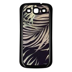 Palm Leaves Painting Grey Samsung Galaxy S3 Back Case (black)