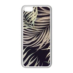 Palm Leaves Painting Grey Apple Iphone 5c Seamless Case (white) by AnjaniArt