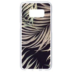 Palm Leaves Painting Grey Samsung Galaxy S8 White Seamless Case