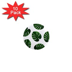 Tropical Imitation Green Leaves Hawaiian Green 1  Mini Magnet (10 Pack)  by AnjaniArt