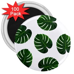 Tropical Imitation Green Leaves Hawaiian Green 3  Magnets (100 Pack) by AnjaniArt