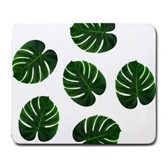 Tropical Imitation Green Leaves Hawaiian Green Large Mousepads by AnjaniArt