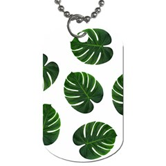 Tropical Imitation Green Leaves Hawaiian Green Dog Tag (two Sides) by AnjaniArt