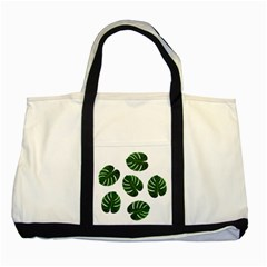 Tropical Imitation Green Leaves Hawaiian Green Two Tone Tote Bag by AnjaniArt
