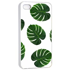 Tropical Imitation Green Leaves Hawaiian Green Apple Iphone 4/4s Seamless Case (white)