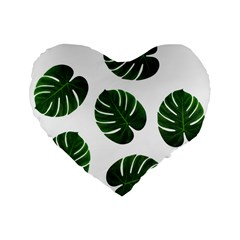 Tropical Imitation Green Leaves Hawaiian Green Standard 16  Premium Flano Heart Shape Cushions by AnjaniArt