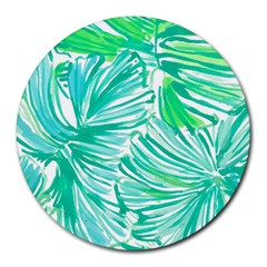 Painting Leafe Green Summer Round Mousepads