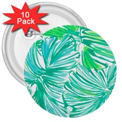 Painting Leafe Green Summer 3  Buttons (10 Pack)